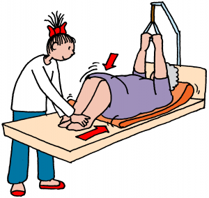 benen patiënt optrekken