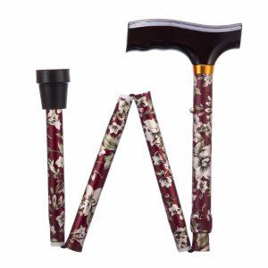 1708042 - Opvouwbare wandelstok burgundy